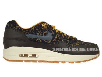454746-003 Nike Air Max 1 Premium Black/Dark Armory Blue-Gold Suede-Linen