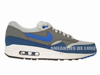 537383-040 Nike Air Max 1 Essential Geyser Grey/Prize Blue-Cool Grey-Geyser Grey