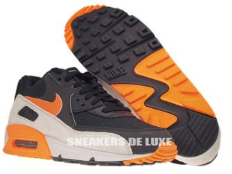 542452-480 Nike Air Max 90 Premium Reflect Dark Obsidian/Total Orange-Neutral Grey