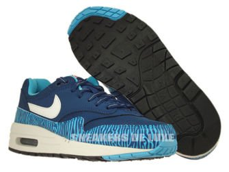 555766-402 Nike Air Max 1 Brave Blue/Summit White-Black-Summit White