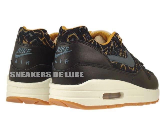 huge discount 7735c 314eb ... 454746-003 Nike Air Max 1 Premium Black Dark Armory Blue-Gold Suede ...