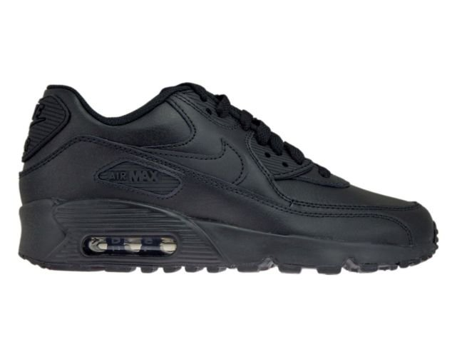 new products 00738 6acbd Nike Air Max 90 GS 833412-001 Leather Black Black ...