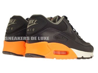333888-402 Nike Air Max 90 Premium Dark Obsidian/Dark Obsidian/Medium Basic Grey/Orange