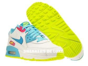 345017-123 Nike Air Max 90 White/Blue Lagoon-Volt-Clear Water