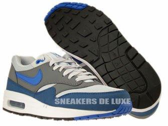 537383-040 Nike Air Max 1 Essential Geyser Grey/Prize Blue-Cool Grey-Geyser Grey