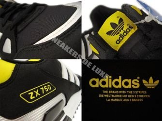 G61241 Adidas Originals ZX 750 Black/White/Metallic Silver